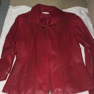 EUC Avanti red leather jacket